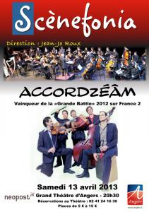 Affiche du concert au Grand Théâtre d'Angers avec l'orchestre Scènefonia le 13 avril